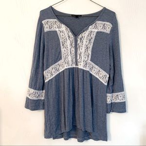 dusty blue lace top